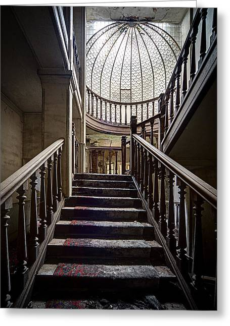 Stair Case Greeting Cards - Stair case in abandoned castle - urban exploration Greeting Card by Dirk Ercken