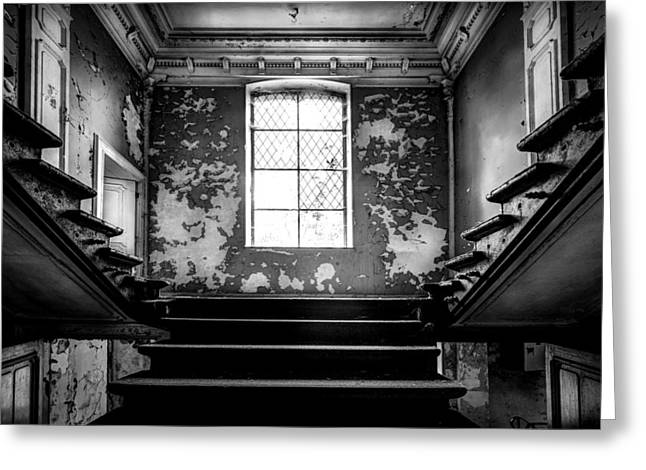 Horror Castle Greeting Cards - Staircase Abandoned Castle - Urban Exploration Greeting Card by Dirk Ercken