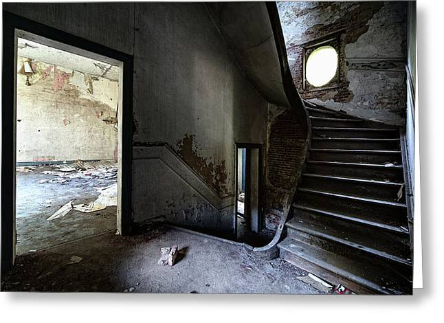 Stair Case Greeting Cards - Staircase Abandoned Mansion - Urban Exploration Greeting Card by Dirk Ercken