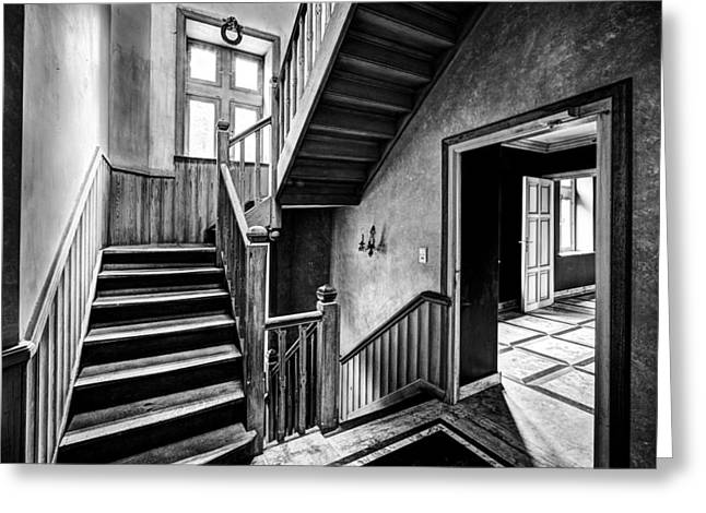 Stair Case Greeting Cards - Staircase In Abandoned Castle - Urban Exploration Greeting Card by Dirk Ercken
