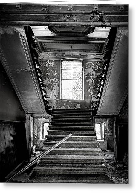 Horror Castle Greeting Cards - Staircase In Abandoned Castle - Urbex Greeting Card by Dirk Ercken
