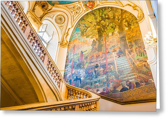 Painted Hall Greeting Cards - Staircase of the Capitole de Toulouse Greeting Card by Semmick Photo