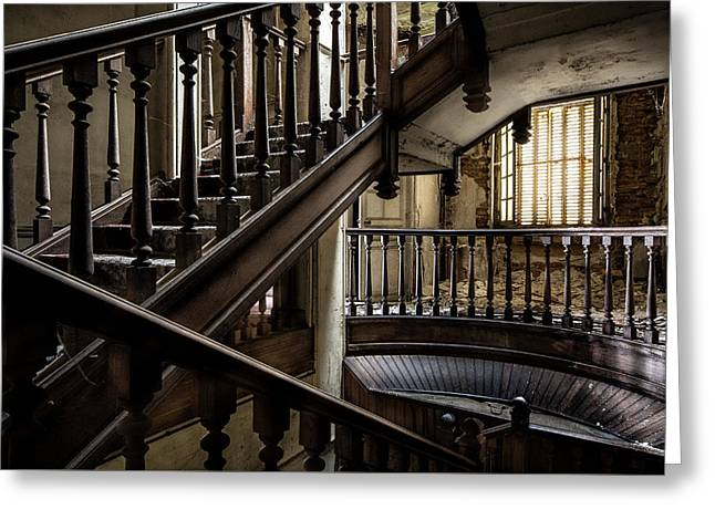 Ghost Castle Greeting Cards - Staircase Rhythm - Abandoned Castle Greeting Card by Dirk Ercken
