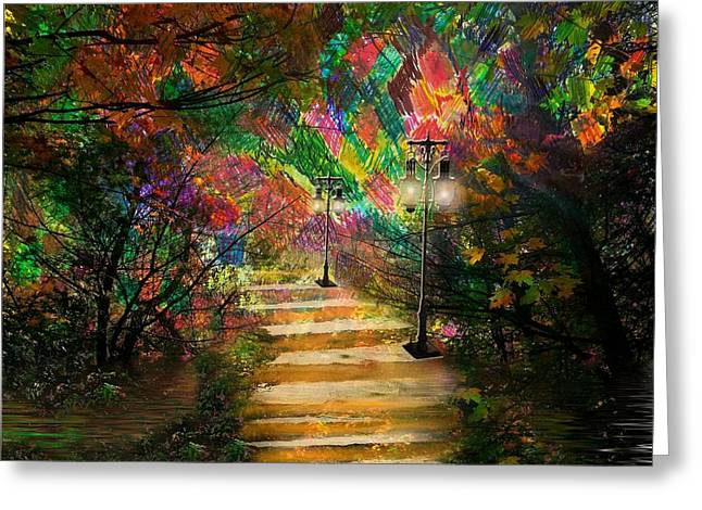 Surreal Landscape Mixed Media Greeting Cards - Staircase to Tranquility Greeting Card by Dan Seitzinger