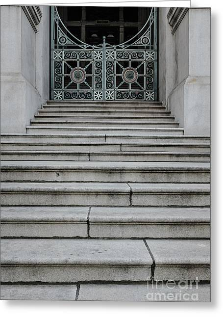 Facades Greeting Cards - Staircase with metal gate Providence Rhode Island Greeting Card by Edward Fielding