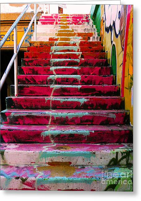 Graffiti Photographs Greeting Cards - Stairs Greeting Card by Angela Wright