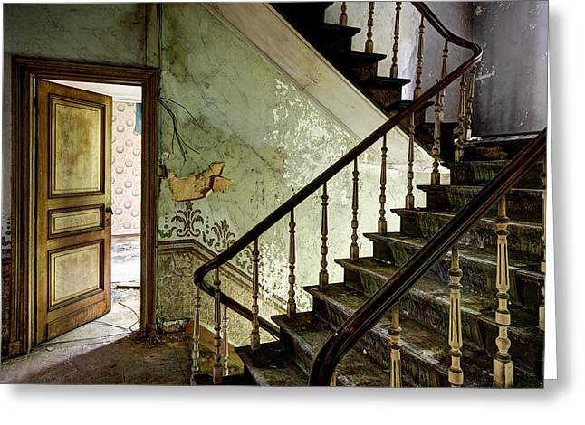 Haunted Castle Greeting Cards - Stairs In Abandoned Castle - Urban Decay Greeting Card by Dirk Ercken