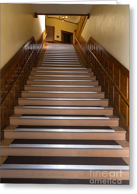 Stairs In An Old Building In Petaluma California Usa Dsc3775 Greeting Card by Wingsdomain Art and Photography
