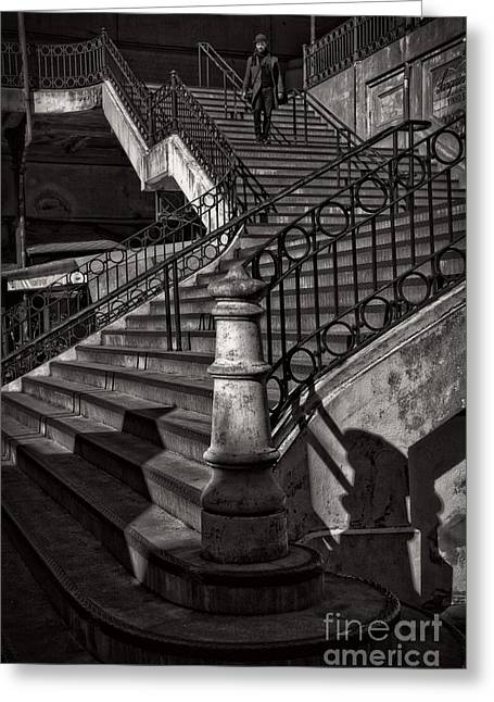 Flight Of Stairs Greeting Cards - Stairs in the Markethall  Greeting Card by Heiko Koehrer-Wagner