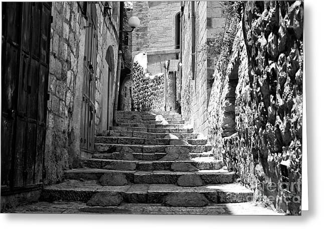 White Photographs Greeting Cards - Stairs of History in Jerusalem Greeting Card by John Rizzuto