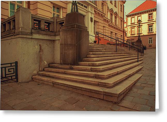 Stairs Of Old Courthouse. Znojmo Greeting Card by Jenny Rainbow