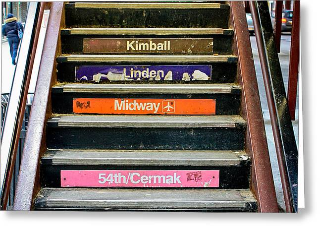 Stairs To The Chicago L Greeting Card by Anthony Doudt
