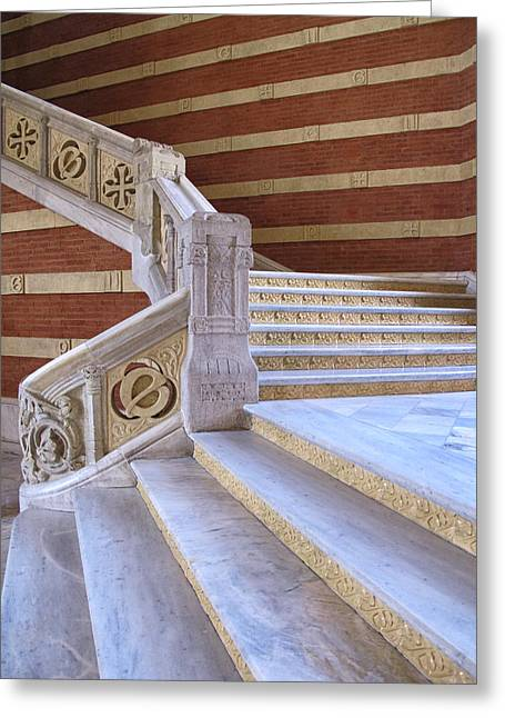 Pau Spanish Greeting Cards - Stairway at Hospital de Sant Pau Greeting Card by Dave Mills