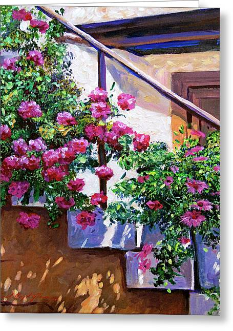 Most Greeting Cards - Stairway Floral Plein Air Greeting Card by David Lloyd Glover