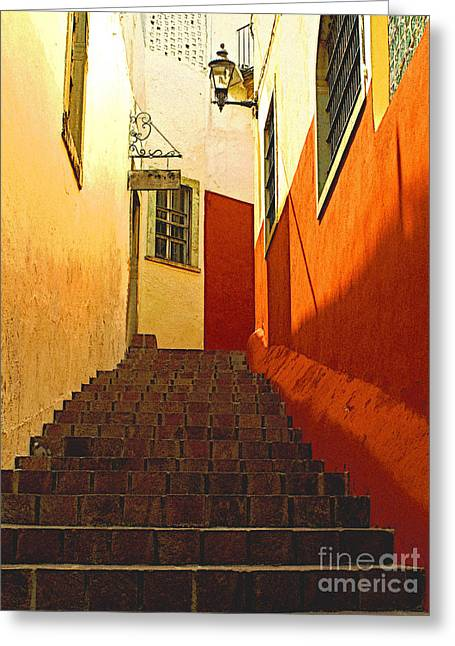 Portal Greeting Cards - Stairway Guanajuato Greeting Card by Olden Mexico