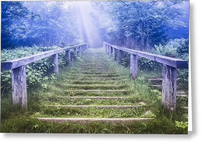 Rocky In Spring Greeting Cards - Stairway into Heaven Greeting Card by Debra and Dave Vanderlaan