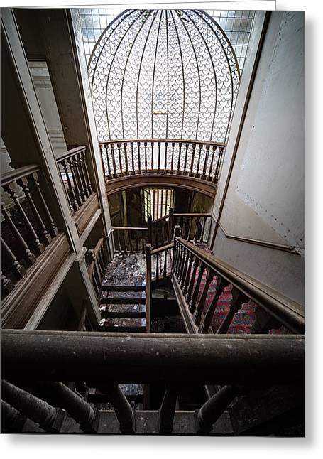 Ghost Castle Greeting Cards - Stairway of abandoned castle - abandoned building Greeting Card by Dirk Ercken