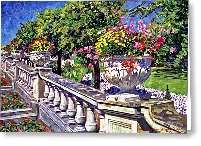 Staircase Greeting Cards - Stairway of Urns Greeting Card by David Lloyd Glover