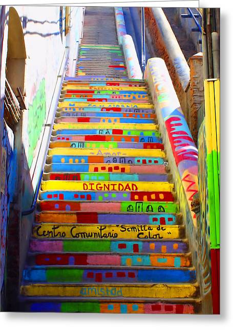 Stairway To Heaven Valparaiso Chile II Greeting Card by Kurt Van Wagner