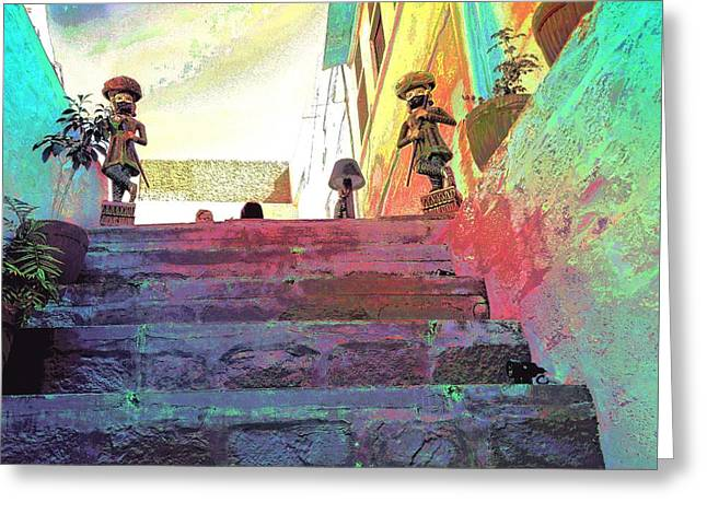 Stepping Stones Greeting Cards - Stairway to Heaven Restaurant Blue City India Rajasthan 1a Greeting Card by Sue Jacobi