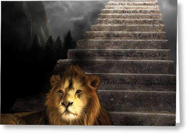 Bible Digital Greeting Cards - Stairway To Heaven v1 square Greeting Card by Wingsdomain Art and Photography