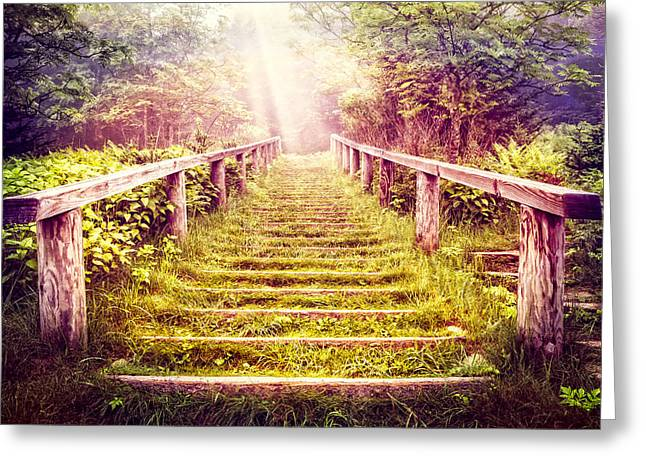 Tennessee Barn Greeting Cards - Stairway to the Garden Greeting Card by Debra and Dave Vanderlaan