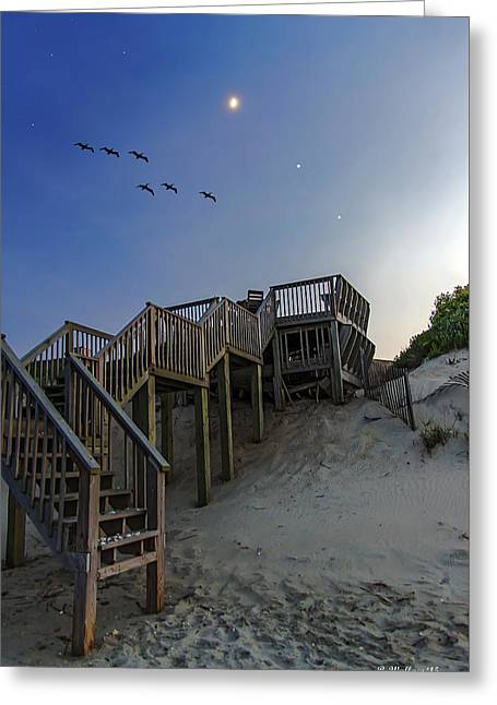 Wooden Stairs Greeting Cards - Stairway To Twilight Greeting Card by Brian Wallace