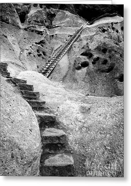 Indian Dwelling Greeting Cards - Stairways To The Kiva Greeting Card by Sandra Bronstein