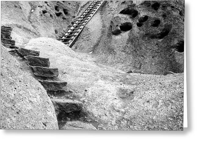 Stairways To The Kiva Greeting Card by Sandra Bronstein