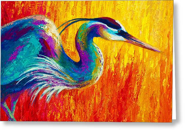 Textures Greeting Cards - Stalking The Marsh - Great Blue Heron Greeting Card by Marion Rose