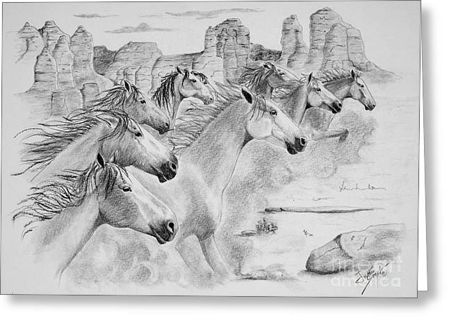 Horse Images Drawings Greeting Cards - Stampede In Sedona Greeting Card by Joette Snyder