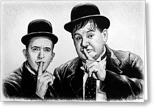 Stan And Ollie Greeting Card by Andrew Read