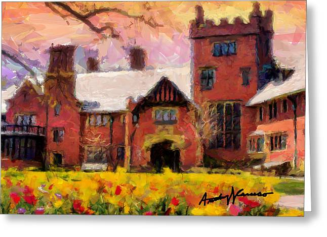 Akron Greeting Cards - Stan Hewyt Hall and Gardens Greeting Card by Anthony Caruso