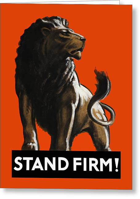 Tom Purvis Greeting Cards - Stand Firm Lion - WW2 Greeting Card by War Is Hell Store