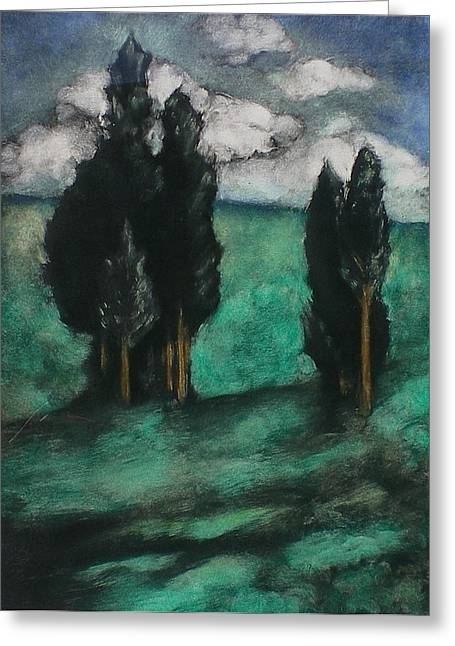 Italian Landscape Pastels Greeting Cards - Stand of trees Greeting Card by Lori Dean Dyment