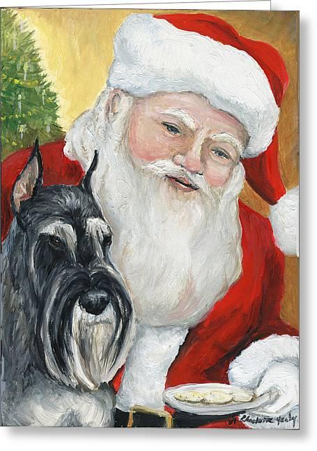 Standard Schnauzer Greeting Cards - Standard Schnauzer and Santa Greeting Card by Charlotte Yealey