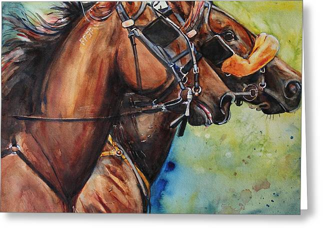 Standardbred Trotter Pacer Painting Greeting Card by Maria's Watercolor