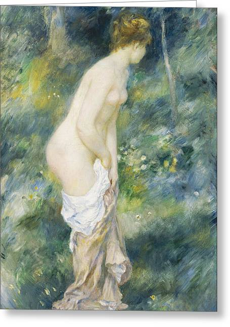 Woman Standing Greeting Cards - Standing Bather Greeting Card by Pierre Auguste Renoir