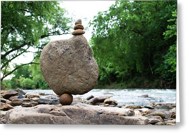 Balance Sculptures Greeting Cards - Standing by the river Greeting Card by Kai Drachenberg