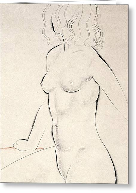 Lines Pastels Greeting Cards - Standing Female Nude Greeting Card by Eric Gill