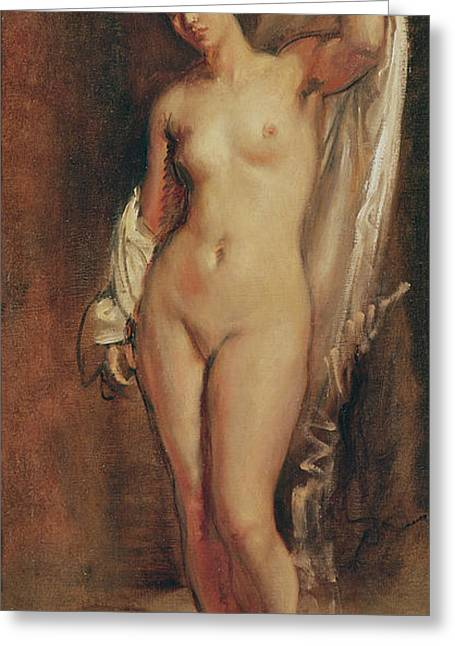 Full-length Portrait Greeting Cards - Standing Female Nude Greeting Card by Theodore Chasseriau