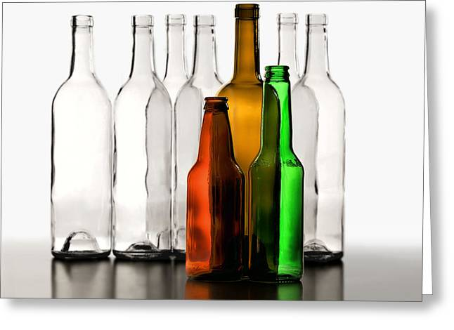 Wine-bottle Greeting Cards - Standing in Front Greeting Card by Joe Bonita