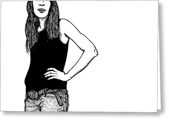 Berlin Drawings Greeting Cards - Standing Lady Greeting Card by Karl Addison