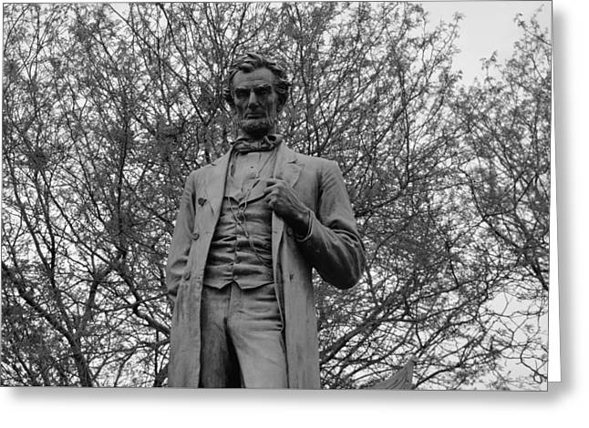 Historic Statue Greeting Cards - Standing Lincoln B n W Greeting Card by Richard Andrews