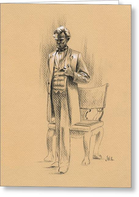 Abraham Lincoln Drawings Greeting Cards - Standing Lincoln Greeting Card by Joe Winkler