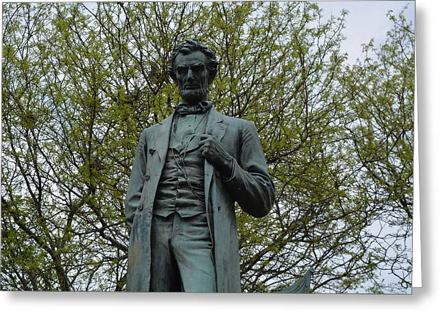 Historic Statue Greeting Cards - Standing Lincoln Greeting Card by Richard Andrews