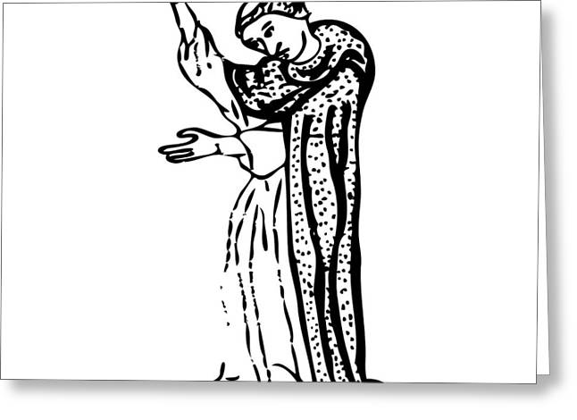 Rope Drawings Greeting Cards - Standing Monk Greeting Card by Karl Addison