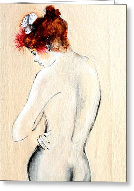 Standing Nude In Black Stockings With Flower In Hair And Bird Greeting Card by Susan Adams