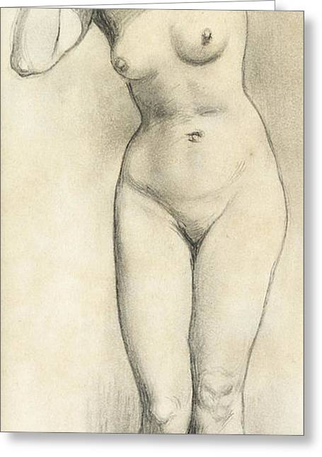 Full Body Drawings Greeting Cards - Standing Nude Greeting Card by William Edward Frost