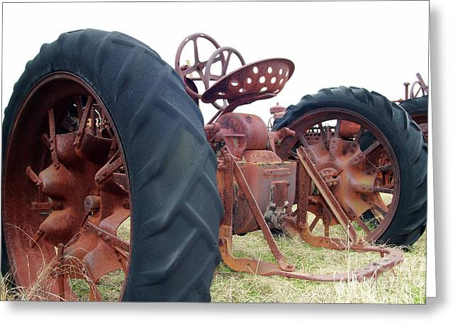 Tractor Tire Greeting Cards - Standing Still Greeting Card by Joy Tudor